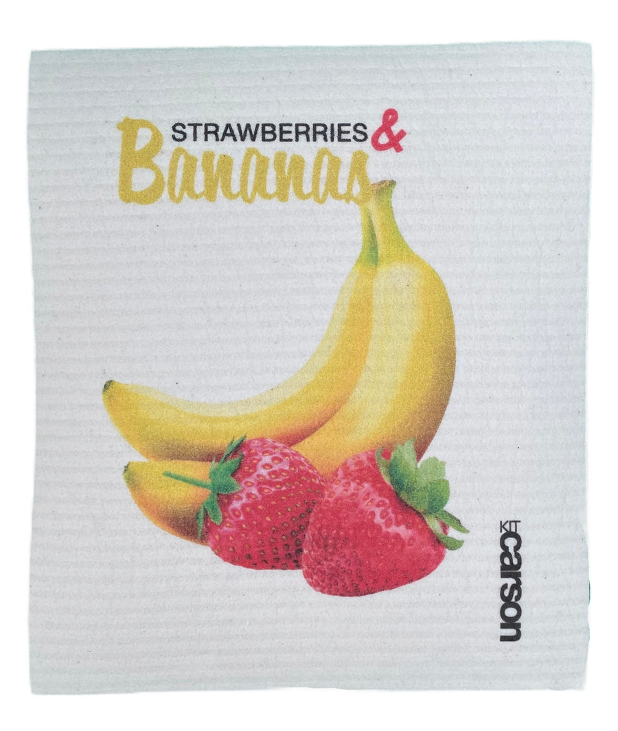 Bananas and Strawberries Swedish Dishcloth