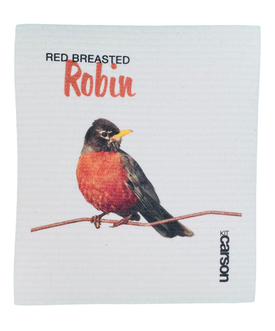 Red Breasted Robin Swedish Dishcloth