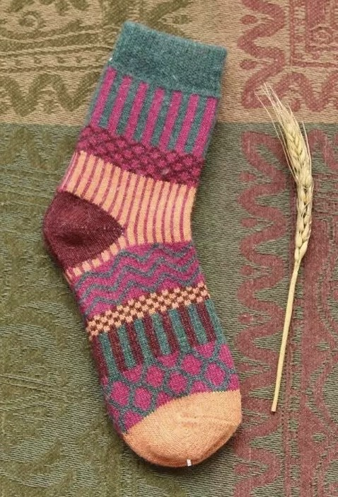 Purple, blue and red wool pattern socks - Kit Carson Accessories