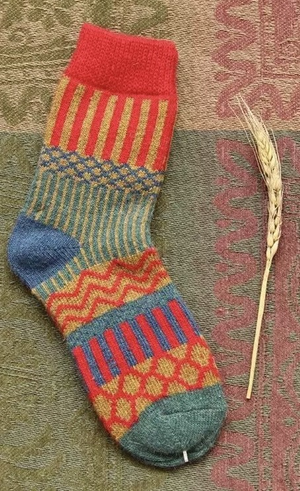 Red, orange and blue wool pattern socks - Kit Carson Accessories