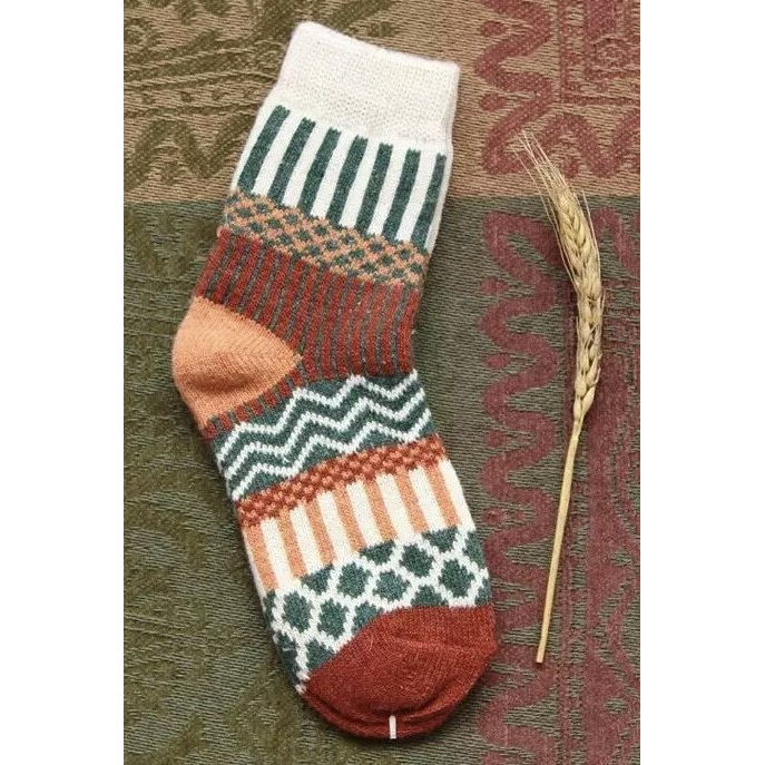 Green, cream and rust wool pattern socks - Kit Carson Accessories