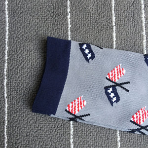 Flag Designs On Gray Compression Socks - Kit Carson Accessories