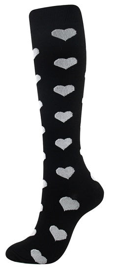 Compression Sock Black with Grey Hearts - Kit Carson Accessories