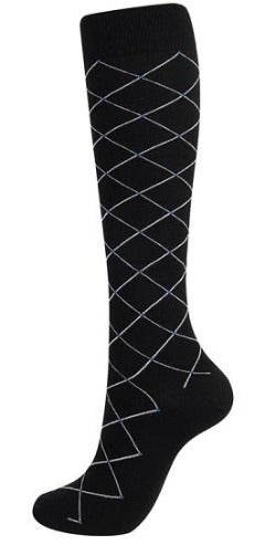 Compression Sock Black with Grey Diamond Lines. - Kit Carson Accessories