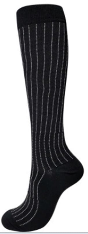 Compression Socks Black with Vertical Grey Lines - Kit Carson Accessories