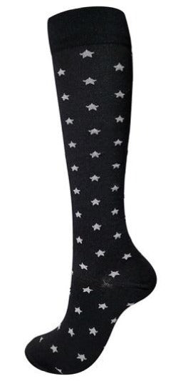 Compression Socks Black with Grey Stars - Kit Carson Accessories