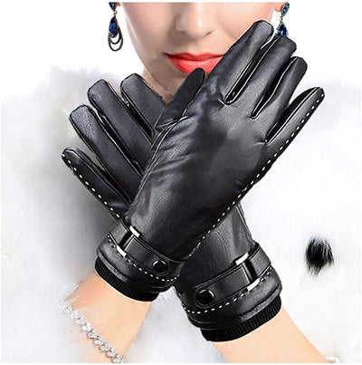 Stylish Warm & Cozy Fleece Lined Leather Gloves