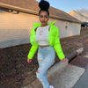 Women neon green puffer jacket