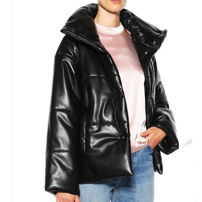 Stylish Puffer Leather Coat in Black