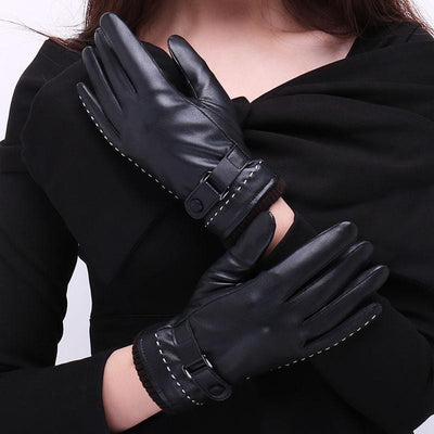 N427 Winter PU Touch Screen gloves Waterproof Thermal Gloves Cycling Outdoor Leather gloves mittens for men women