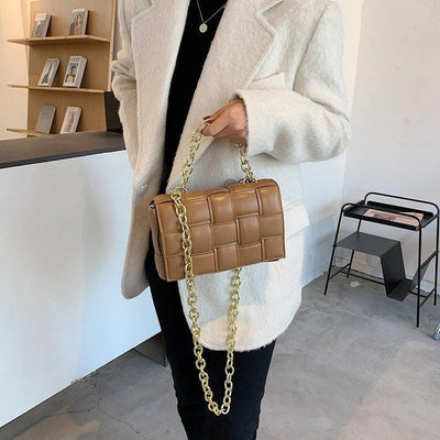 Contemporary Weave Crossbody Flap Leather Bag