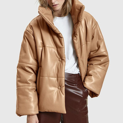 Sytlish Puffer Leather Coat in Khaki