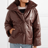 Stylish Puffer Leather Coat in Coffee