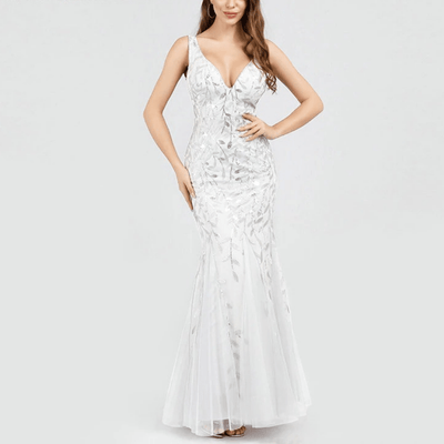 Quaint Embroidered Wedding Formal Gown