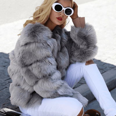 Cropped Faux Fur Jacket for Women