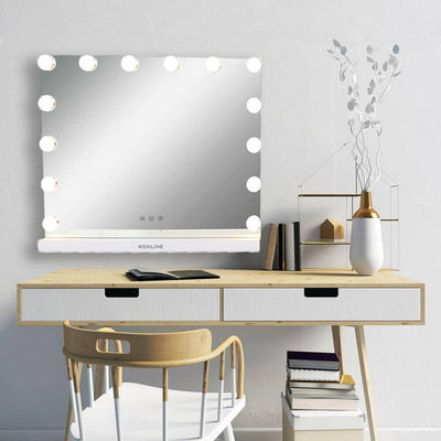 "Hollywood Makeup Lighted Vanity Mirror Lights Bulb Dimmer Tabletop or Wall 23""L"