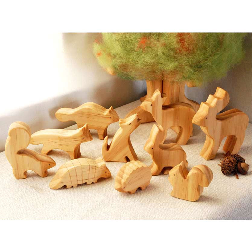 Eco friendly Animals Carved from Wood Carved Animals Animals of the woods Wooden Animals Ecological Wooden Waldorf toys Nature Kids