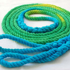 Long Playground Jump Rope, Green and Turquoise Dyed with Hand-Spliced Center Weight and Looped Handles, Single or Pair (Double Dutch)