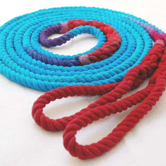 Long Playground Jump Rope, Turquoise and Red Dyed with Hand-Spliced Center Weight and Looped Handles, Single or Pair (Double Dutch)