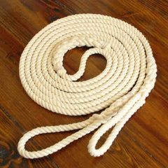 Long Playground Jump Rope, Natural Undyed with Hand-Spliced Center Weight and Looped Handles, Single or Pair (Double Dutch)
