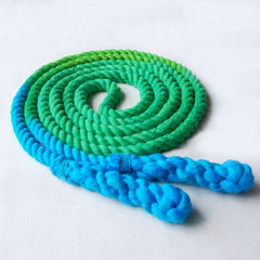 Jump Rope, Green and Turquoise Dyed with Hand-Spliced Handles, Sizes 6.5, 7, 8 and 9 feet