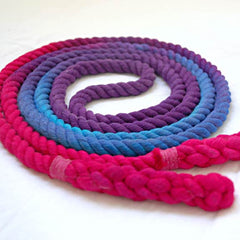 8-ft Single Jump Rope Skipping Rope, Hand-Spliced and Dyed, Purple Blue & Pink