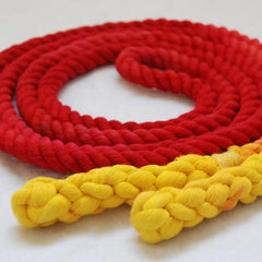 Jump Rope, Red and Yellow Dyed with Hand-Spliced Handles, Sizes 6.5, 7, 8, 9, 10 feet and Custom by request