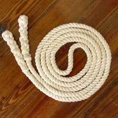 Jump Rope, Natural Undyed with Hand-Spliced Handles, Sizes 6.5, 7, 8, 9, 10 feet and Custom by request