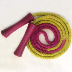 Hand-dyed jump rope, chartreuse and amethyst with amethyst wooden handles