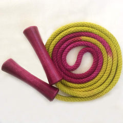 Hand-dyed jump rope, chartreuse and amethyst with wooden handles