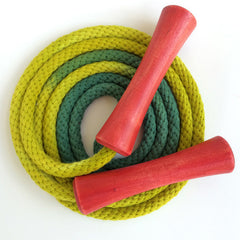 Hand-dyed jump rope, chartreuse & green with red wooden handles