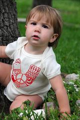 Organic Cotton Baby Onesie, Red 'Peace Chicken' on Natural Onesie