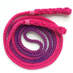 Jump Rope, Fuchsia and Purple Dyed with Hand-Spliced Handles, Sizes 6.5, 7, 8, 9, 10 feet and Custom by request