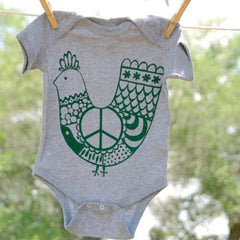 Baby Onesie, Green 'Peace Chicken' on Gray Onesie
