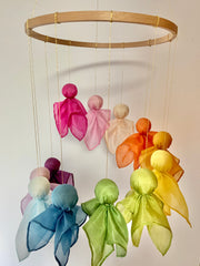 Silk Fairy Mobile Kit - Dancing Fairy-Mobile with Plant-dyed Silks - 12 Colors