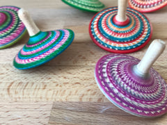 Multi-colored Wooden Spinning Tops