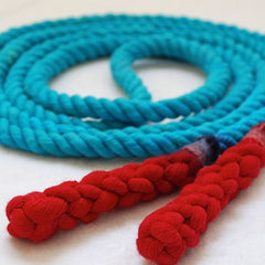 Jump Rope, Turquoise and Red Dyed with Hand-Spliced Handles, Sizes 6, 7, 8, 9, 10 feet and Custom by request