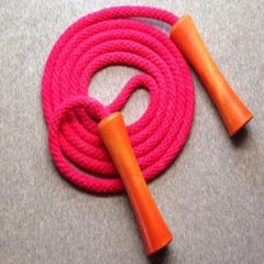 Jump Rope, Bright Pink  Dyed with Orange Wooden Handles, Sizes 6.5, 7, 8, 9 feet by request