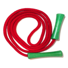 Jump Rope, Bright Red Dyed with Green Wooden Handles, Sizes 6.5, 7, 8 and 9 feet