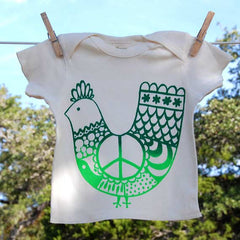 Organic Cotton Lap Shoulder Baby Shirt, Green 'Peace Chicken' on Natural Shirt