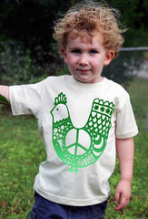 Organic Cotton Children's Tee, Green Peace Chicken