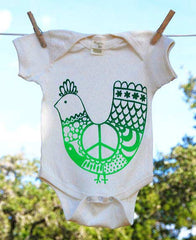 Organic Cotton Baby Onesie, Green 'Peace Chicken' on Natural Onesie