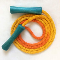 Jump Rope, Yellow and Orange Dyed with Aquamarine Wooden Handles, Sizes 6.5, 7, 8, 9, 10 feet and Custom by request