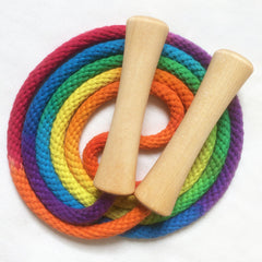 Single Jump Rope Hand-dyed multi-colored rainbow with wooden handles