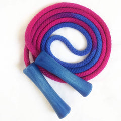 Hand-dyed jump rope, sapphire and fuschia with wooden handles