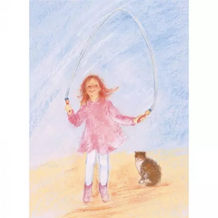 Skipping Rope- single postcard by artist Marjan van Zeyl.