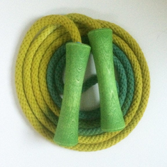 Jump Rope, Chartreuse and Forest Green Dyed with Green Wooden Handles, Sizes 6.5, 7, 8, 9, 10 feet and Custom by request