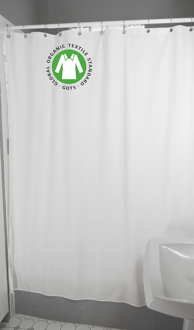 Organic White Cotton Shower Curtain – Bath, Tub + Stall Sizes – Made in USA