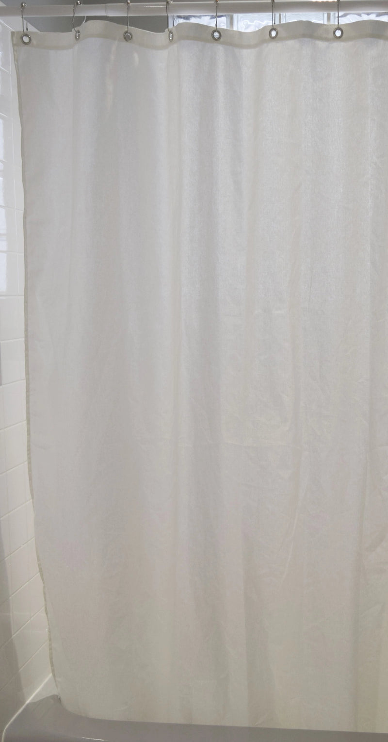 Cotton Shower Curtain – White or Natural, Bath, Tub + Stall Sizes – Made in USA