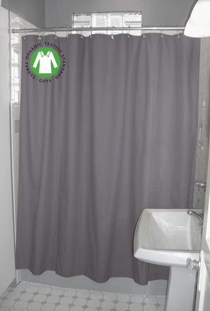 Organic Cotton Shower Curtain – Bath, Tub + Stall Sizes – Made in USA